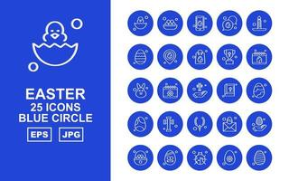 25 Premium Easter Blue Circle Icon Pack vector