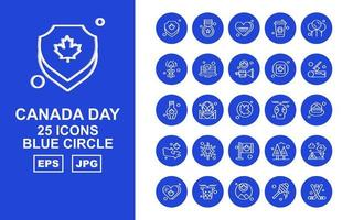 25 Premium Canada day Blue Circle Icon Pack vector
