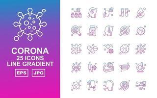 25 Premium Corona Virus Line Gradient Icon Pack vector