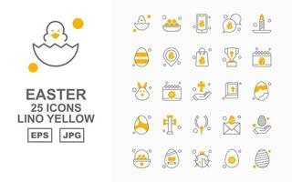 25 Premium Easter Lino Yellow Icon Pack vector