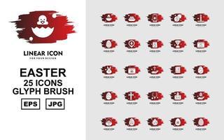 25 Premium Easter Glyph Brush Icon Pack vector