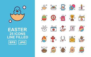 25 Premium Easter Line Filled Icon Pack vector