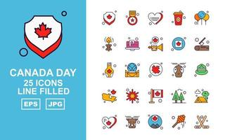 25 Premium Canada day Line Filled Icon Pack vector