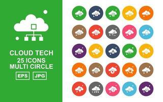 25 Premium Cloud Tech Multi Circle Icon Pack vector