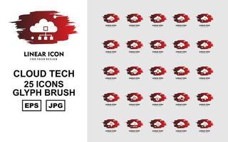 25 Premium Cloud Tech Glyph Brush Icon Pack