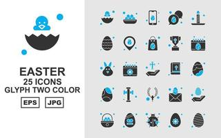 25 Premium Easter Glyph Two Color Icon Pack vector