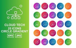 25 Premium Cloud Tech Circle Gradient Icon Pack vector