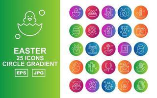 25 Premium Easter Circle Gradient Icon Pack vector