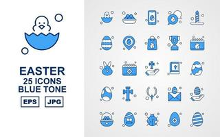 25 Premium Easter Blue Tone Icon Pack vector