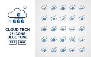 25 Premium Cloud Tech Blue Tone Icon Pack vector