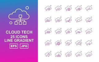 25 Premium Cloud Tech Line Gradient Icon Pack vector