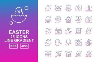 25 Premium Easter Line Gradient Icon Pack vector