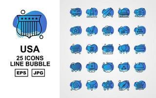 25 Premium USA Line Bubble Icon Pack