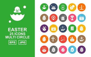 25 Premium Easter Multi Circle Icon Pack vector