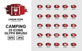 Paquete de 25 iconos de pincel de glifo de camping premium vector