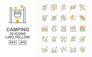 25 Premium Camping Lino Yellow Icon Pack vector