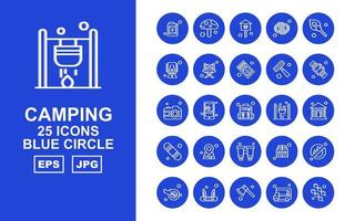 25 Premium Camping Blue Circle Icon Pack vector