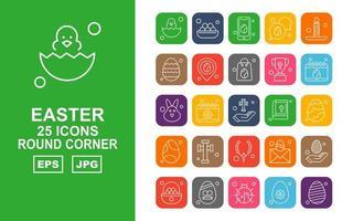 25 Premium Easter Round Corner Icon Pack vector