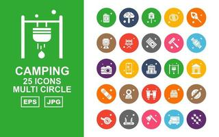 25 Premium Camping Multi Circle Icon Pack vector