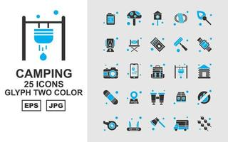 25 Premium Camping Glyph Two Color Icon Pack vector