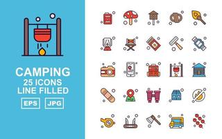 25 Premium Camping Line Filled Icon Pack vector