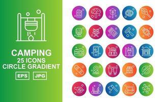 25 Premium Camping Circle Gradient Icon Pack vector