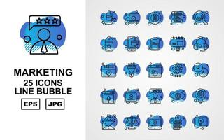 25 Premium Marketing Line Bubble Icon Pack vector