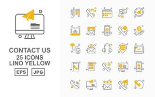 25 Premium Contact Us Lino Yellow Icon Pack vector