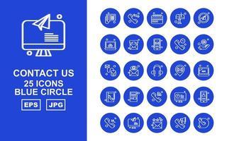 25 premium contáctenos paquete de iconos de círculo azul vector