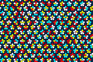 Colorful flowers on colorful stripes pattern