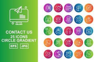 25 premium contáctenos paquete de iconos de degradado circular vector