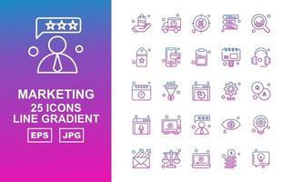 25 Premium Marketing Line Gradient Icon Pack vector