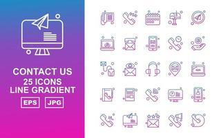 25 paquete premium de iconos de gradiente de línea de contacto vector
