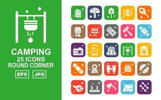 25 Premium Camping Round Corner Icon Pack vector