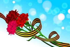 Victory Day 9 may carnations Saint George ribbon vector