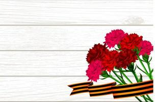 Wooden board for 9 may red carnations St George ribbon vector
