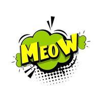 letras miau gatito cómic texto pop art
