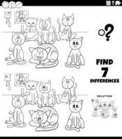 Diferencias tarea con gatos de dibujos animados página de libro para colorear vector