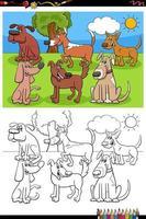 Grupo de perros divertidos dibujos animados página de libro para colorear vector
