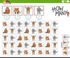 cuántos personajes de animales contando juego vector