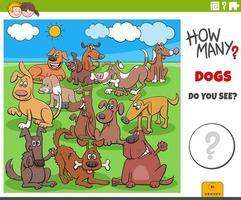 cuántos perros tarea educativa para niños vector