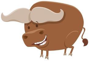 búfalo africano, cómic, animal salvaje, carácter vector