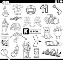 letter k educational task coloring book page vector
