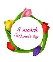 Realistic tulips 8 march womans day vector