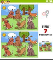 Diferencias tarea educativa con grupo de perros de dibujos animados. vector