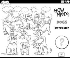 counting dogs educational game color book vector