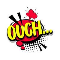 Lettering ouch, oops. Comic text pop art vector