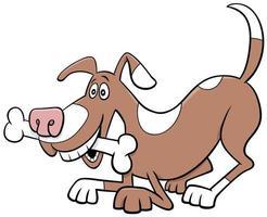 caricatura, perro, cómico, animal, carácter, con, hueso vector