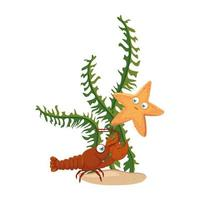 sea underwater life, lobster and starfish with seaweed on white background vector