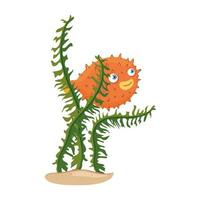sea underwater life, blowfish animal and seaweed on white background vector